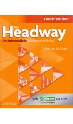 New Headway 4th Edition Pre-Intermediate: Workbook with Key and iChecker CD (тетрадь)